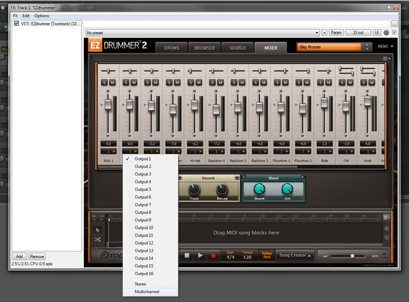 Setting EZ Drummer 2 to Multi-Channel